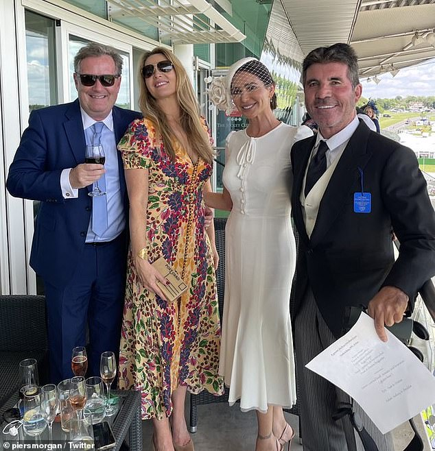 A-list pals: The couple were joined in the VIP enclosure by Piers Morgan and his wife Celia Walden, with the group posing together for a snap