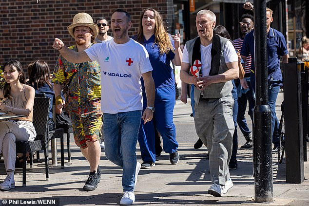 Remake: It comes as earlier this week comedian Keith Lemon, actor Will Mellor and Happy Mondays star Bez were seen shooting scenes for the reboot video in Hoxton, London