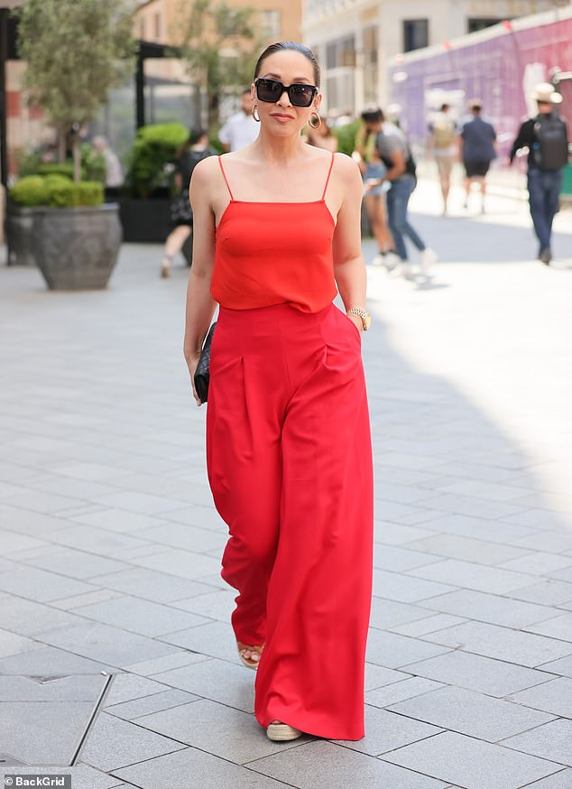 Work-bound: Myleene Klass looked summer ready on Saturday as she arrived at Global Studios in London for work