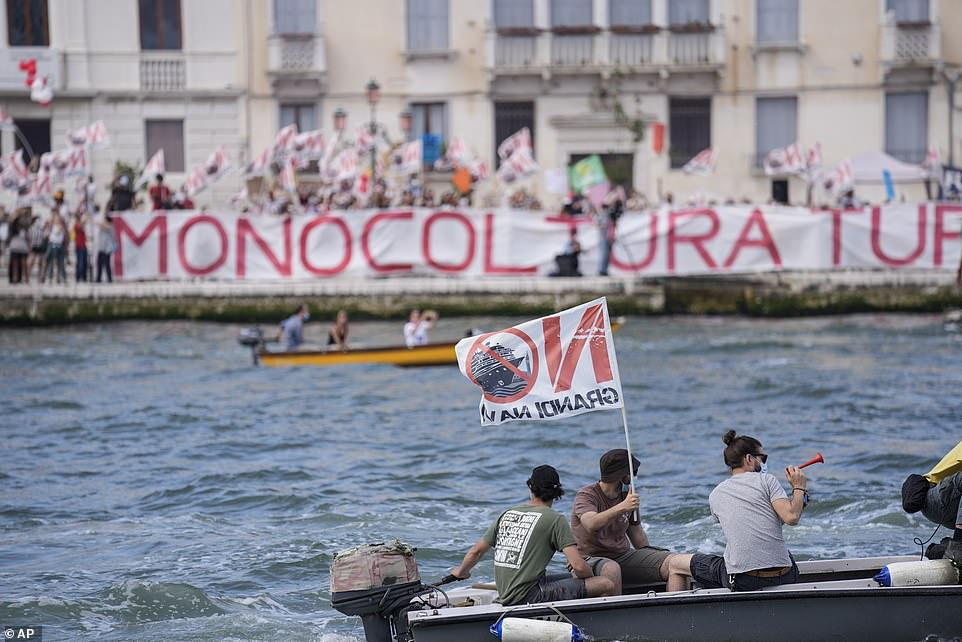 Activists are demanding that the enormous ships be permanently rerouted out the fragile lagoon, especially Giudecca Canal through. The ship passed two groups of protesters: pro-cruise advocates whose jobs depend on the industry as well as protesters who have been campaigning for years to get cruise ships out of the lagoon