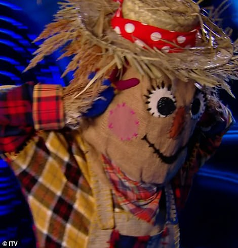 Unmasked: Tamzin Outhwaite was unmasked as Scarecrow on Saturday night's final of The Masked Dancer