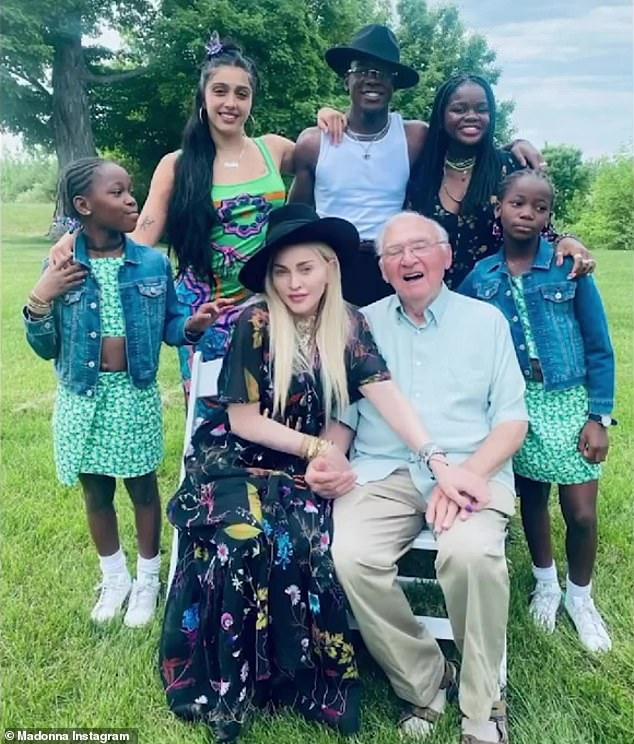 Celebrate: Madonna, along with five of her six children, flew out to her home state of Michigan to celebrate her father Silvio's 90th birthday at the family's vineyard in Suttons Bay