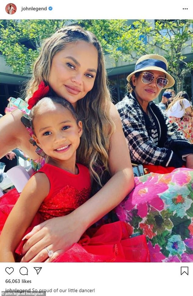 Supportive parent: Chrissy Teigen, 35, made her first social media appearance in weeks on Saturday when John Legend posted a photo of her at their five-year-old daughter Luna's dance recital