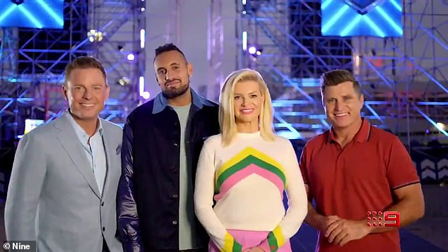 Lineup: Nick Kyrgios will swap his tennis racquet for a microphone in the upcoming season of Australian Ninja Warrior, as seen in a new promo video for the show. L-R: Ben Fordham, Kyrgios, Rebecca Maddern and Shane Crawford