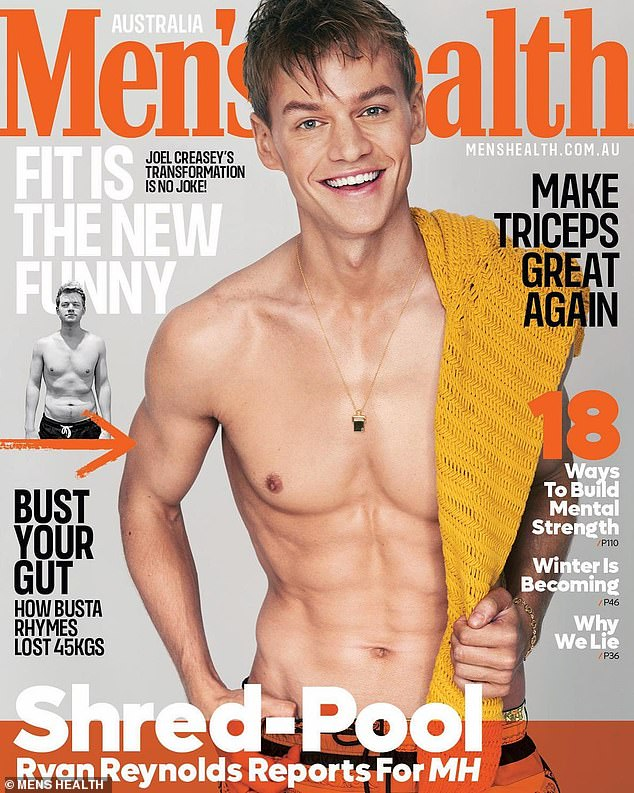 Body transformation: Stars including Jodi Gordon and Kate Ritchie have praised Joel Creasey as he shows off his abs and weight loss on the cover of Men's Health magazine (pictured)