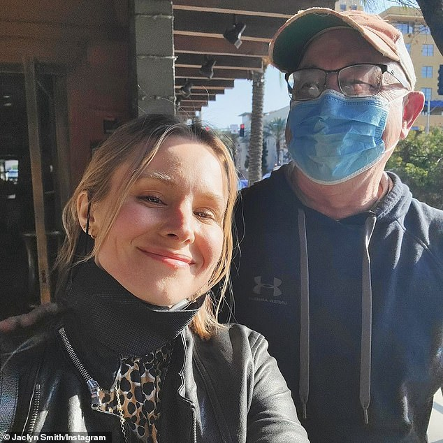 'It was my dad's birthday, so we took him out to a nice dinner and he told me that since it was his birthday he absolutely did not have to take his mask off for the pictures I wanted,' she wrote