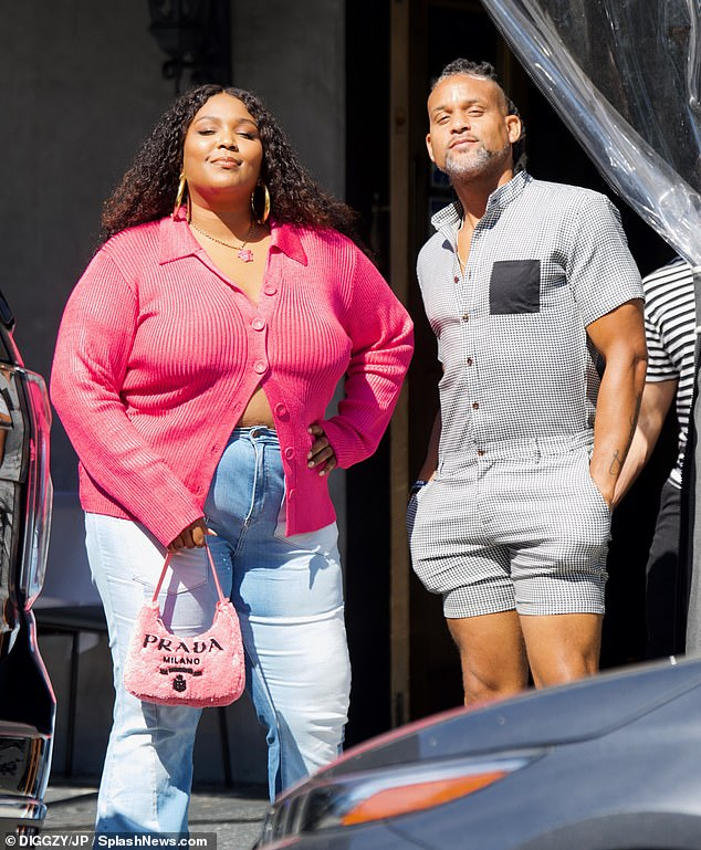In good company:The Truth Hurts singer was joined by her pal and fitness guru Shaun T, whose famous workout routines have become an integral part of her lifestyle in recent months