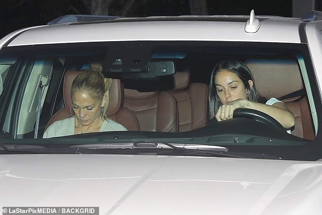 Special ride: Jennifer was seen being driven home in her white Cadillac Escalade, reportedly the same vehicle that chauffeured Ben to her home back in April