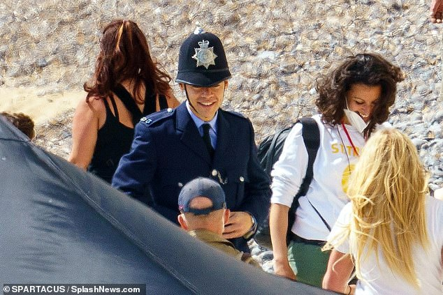 Back on the beach: Harry Styles shot scenes for upcoming LGBT drama My Policeman in Brighton on Saturday