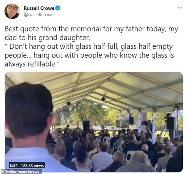 """Alongside the clip, Russell wrote: 'Best quote from the memorial for my father today, my dad to his granddaughter, """"Don't hang out with glass half full, glass half empty people... hang out with people who know the glass is always refillable""""'"""
