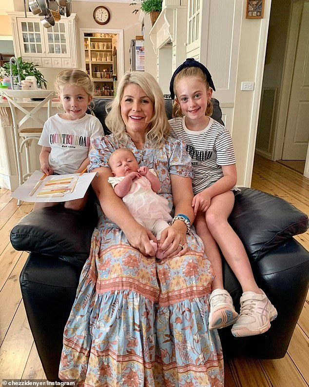 Family: The presenter is married to Chezzi Denyer, 41, and the couple share three daughters, Sailor, 10, and Scout, five, and three-month-old Sunday (all pictured)