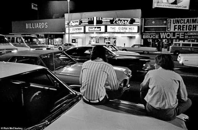 The Capri Theater, shown above with The Godfather on its marquee, was an important touchstone for people who grew up in the San Fernando Valley, said McCloskey, who went there as a kid for Saturday afternoon matinees. When he took the picture, the theater was still doing fine, but it is no longer in business. 'I loved the neon and the fluorescent lights… And I love The Godfather part of it.' The film, which was released in March 1972, was the highest-grossing movie that year.