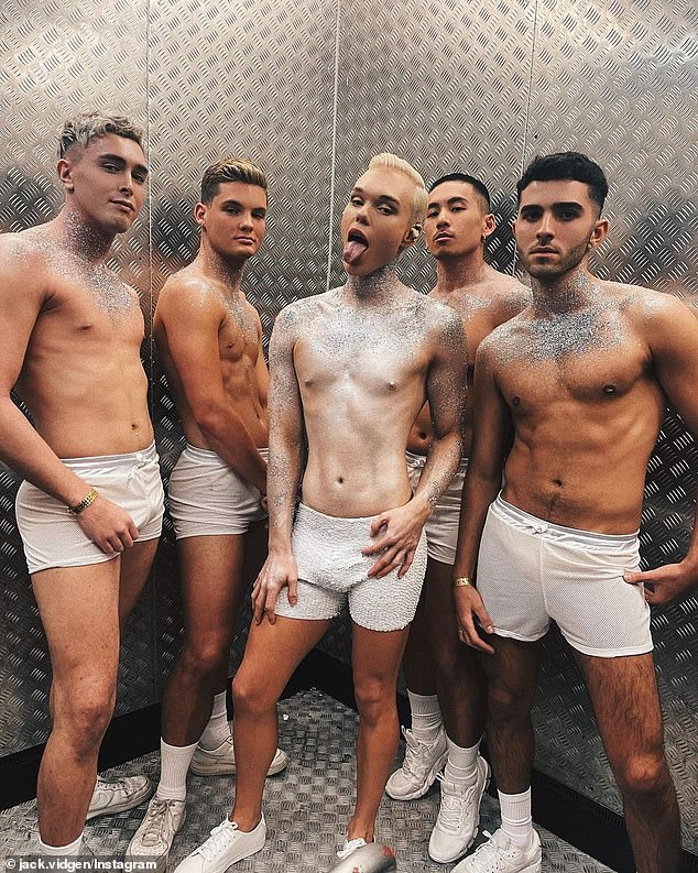 Wow!Jack Vidgen (centre) launched his new single, Love Me Lonely, on Saturday night. The Voice star, 23, celebrated the release with a performance at Sydney's POOF DOOF at the Ivy. The singer stripped down to white underpants and covered his body in glitter for the event