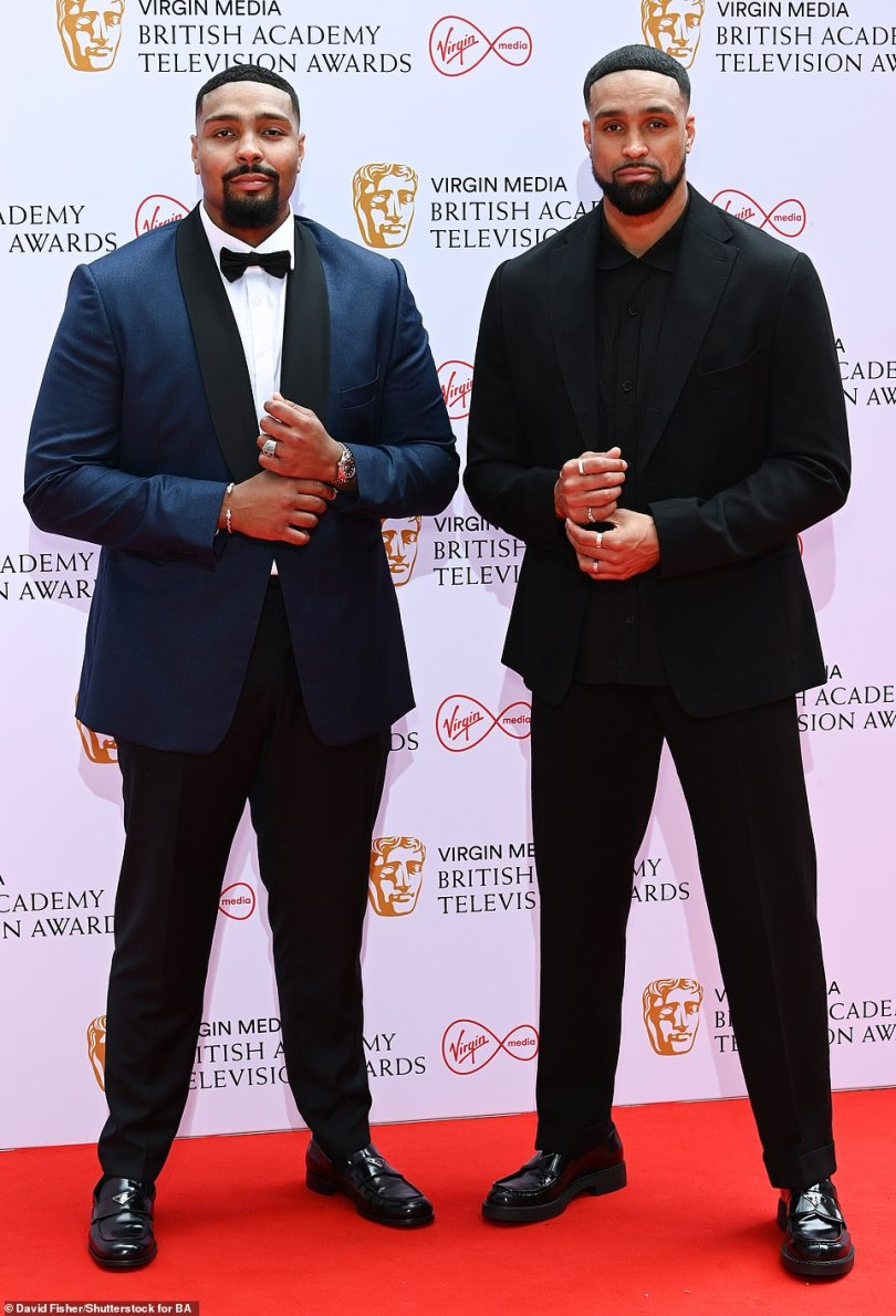 Contenders: Diversity dancersJordan and Ashley Banjo looked dapper as they posed together ahead of vying for a trophy