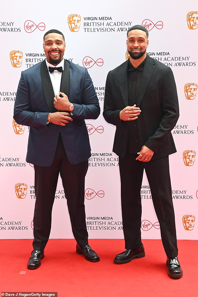 Suave:Ashley Banjo and his brother Jordan looked dapper as they attended the British Academy Television Awards on Sunday