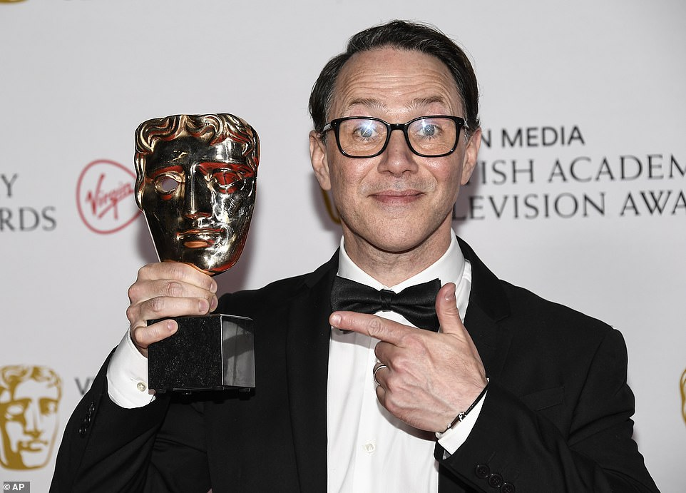 Hilarious:Richard Wilson then took to the stage to give out the award for Scripted Comedy to Inside No. 9, with Reece Shearsmith (pictured with his gong) vowing they'll 'keep going' following the show's sixth series