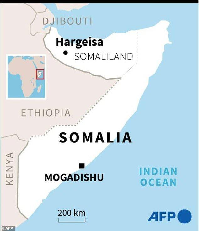 A map of Somalia locating Somaliland