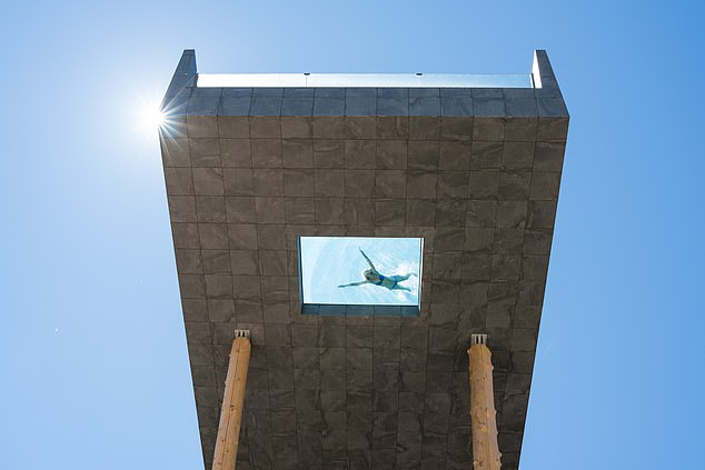 Overlooking the Dolomite mountain range, this striking structure is suspended 40 ft (12 metres) above the ground