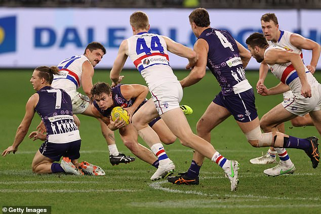 Two-time Brownlow medallist Nat Fyfe has been among four Fremantle stars to succumb to injury during the team's 28-point AFL loss to the Western Bulldogs at Optus Stadium