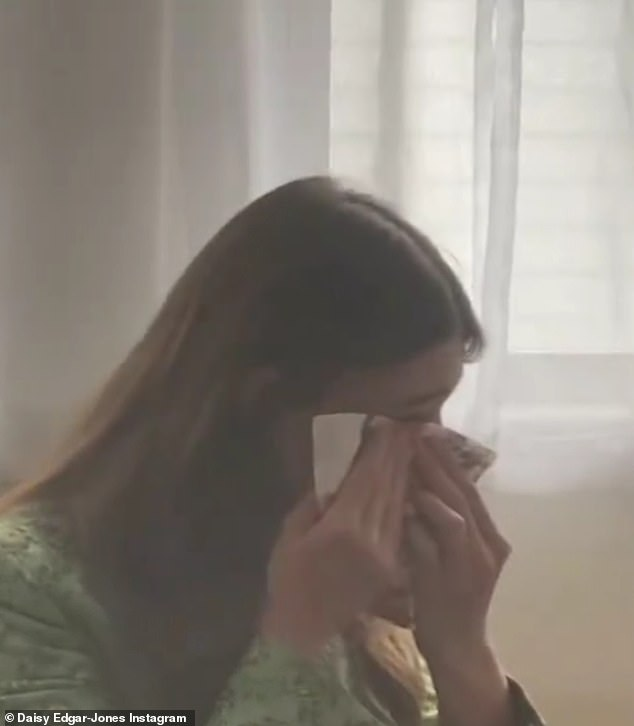 Emotional: Daisy, 23, was watching the ceremony live from a New Orleans hotel room and became emotional during his speech, wiping away tears