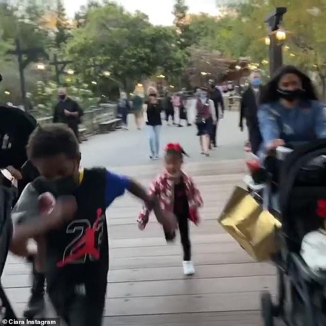 Walk this way! The women also shared videos capturing themselves speed walking through Disneyland
