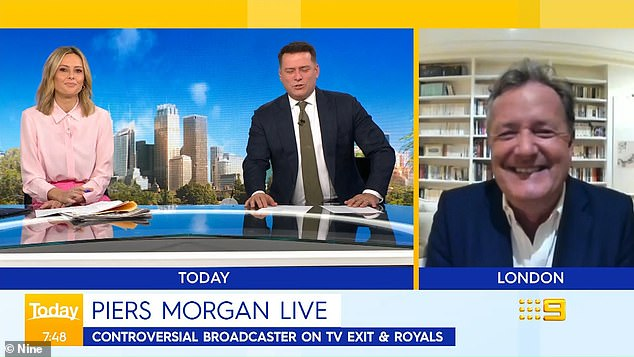 Banter: Piers Morgan (right) had fun sparring with the hosts of Australia's Today show on Monday, clashing with Ally Langdon (left, with Karl Stefanovic) after she expressed sympathy for his wife, Celia Walden