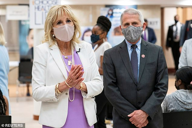 U.S. First Lady Jill Biden and Dr. Anthony Fauci visited a vaccination clinic at Abyssinian Baptist Church in Harlem