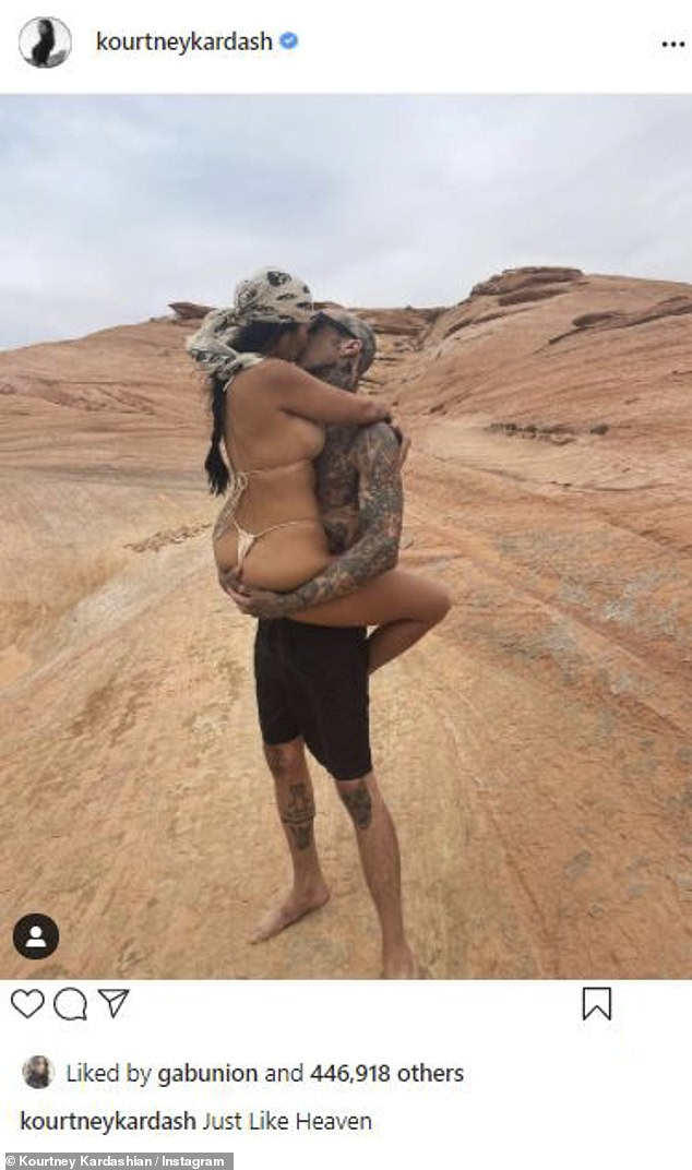 Inseparable: She has been dating the Blink-182 drummer since January of this year, and their loving displays have only gotten more explicit on social media over time