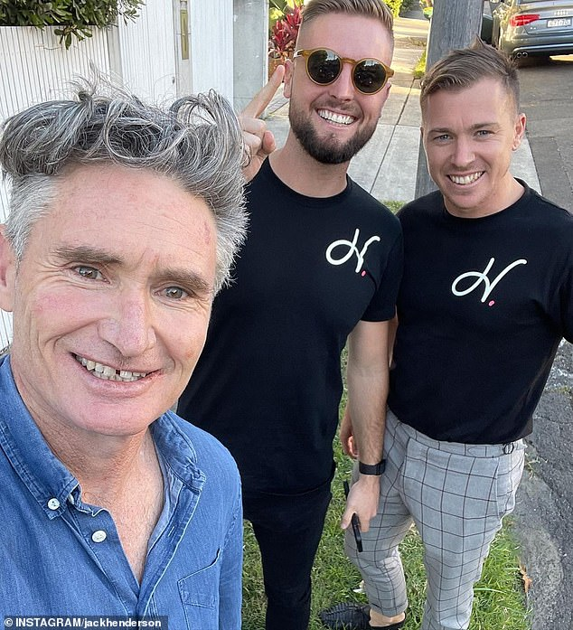 Still looking: Dave 'Hughesy' Hughes (left) appears to still be on the hunt for a permanent NSW home, based on an image shared by Sydney buyer agent Jack Henderson (centre) last week