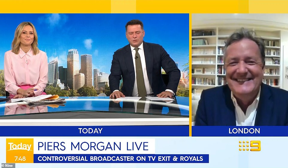 Morgan pictured right on Monday morning appearing on the Today show. He has mocked the 'irony' of Harry and Meghan's decision to use the Queen's nickname 'Lilibet' for their new baby daughter