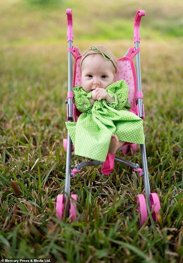Two-year-old Abigail Lee of Louisiana, pictured, was born with a rare form of dwarfism and will only reach 24 inches