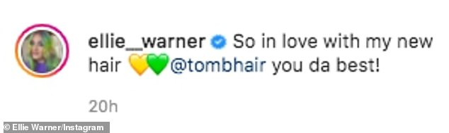 Bold:It comes after last month Ellie debuted her new lime green and yellow tresses, showing them off on Instagram