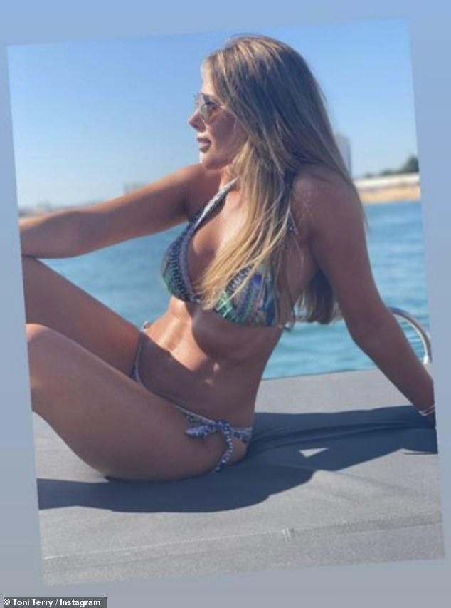 Bikini life: The dressage rider took to Instagram where she uploaded snaps of herself lounging aboard the vessel, with her washboard abs and ample cleavage on display