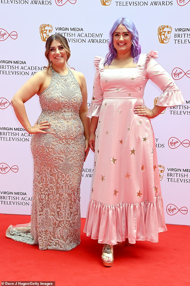 Radiant: On the red carpet on Sunday night she showed off her purple hair again as she attended the star-studded event with her sister Izzi