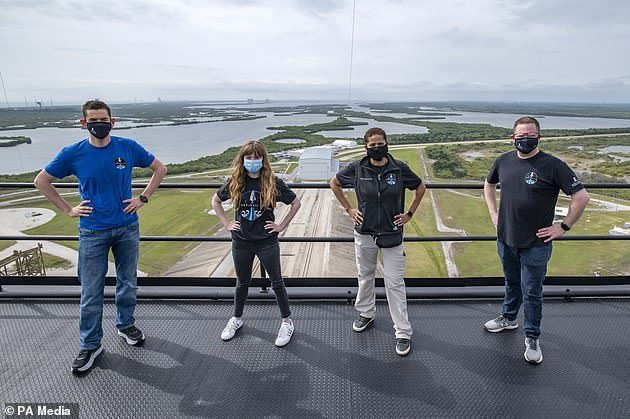Jared Isaacman, from left to right, Hayley Arceneaux, Sian Proctor and Chris Sembroski form the Inspiration4 crew.Inspiration4, spearheaded by SpaceX, is the world's first all-civilian mission to space