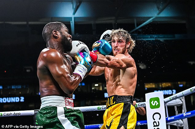 Gripping: The YouTuber was outclassed in the fight but stood his ground and showed a solid chin to take Mayweather's best shots