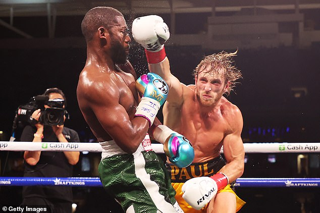 At odds: Paul tried to let his hands go when they were in close but was made to miss by Mayweather more often than not