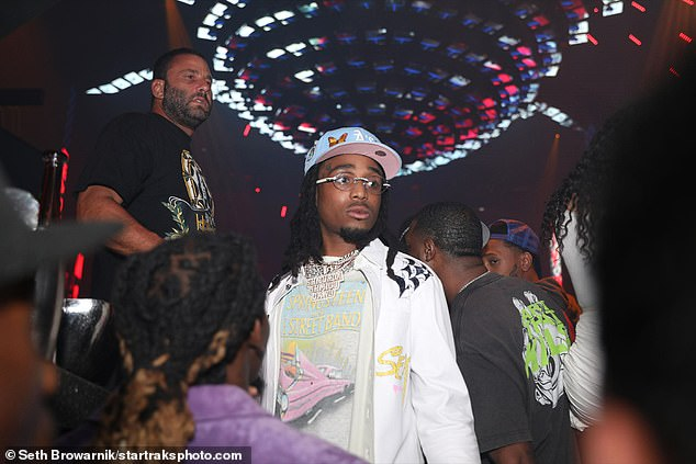 Hitmaker: Rapper Quavo was also among the stars in attendance for the party as they celebrated a gripping fight that went the distance