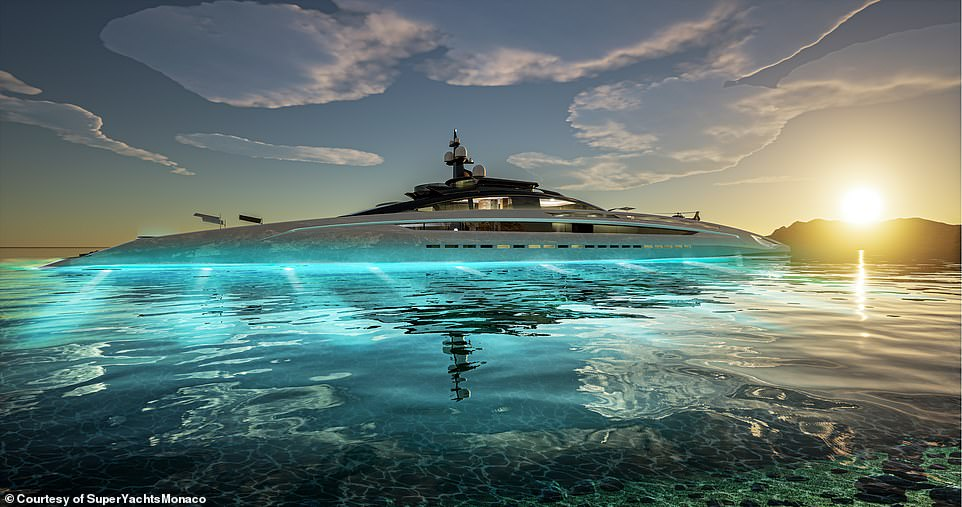 Stunning renderings show that the 442ft (135m)-steel-hulled vessel will have a long sleek exterior