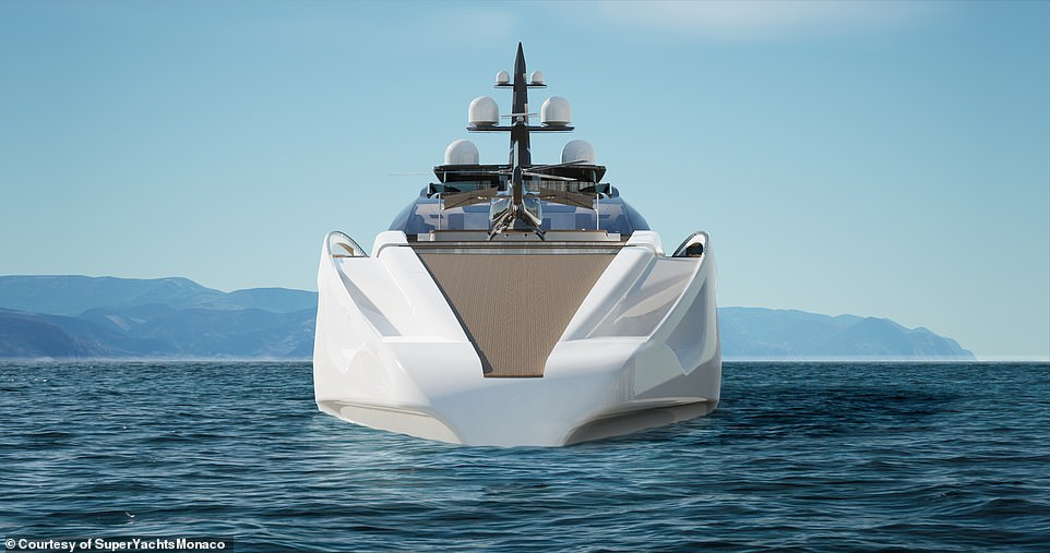 In terms of speed, it is projected that the yacht will reach a top speed of 24 knots (27mph) thanks to a streamlined design to reduce wind and wave resistance