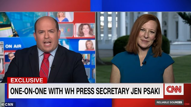 CNN's Reliable Sources host Brian Stelter has come under fire for what some have described as a 'fawning' interview of White House Press Secretary Jen Psaki