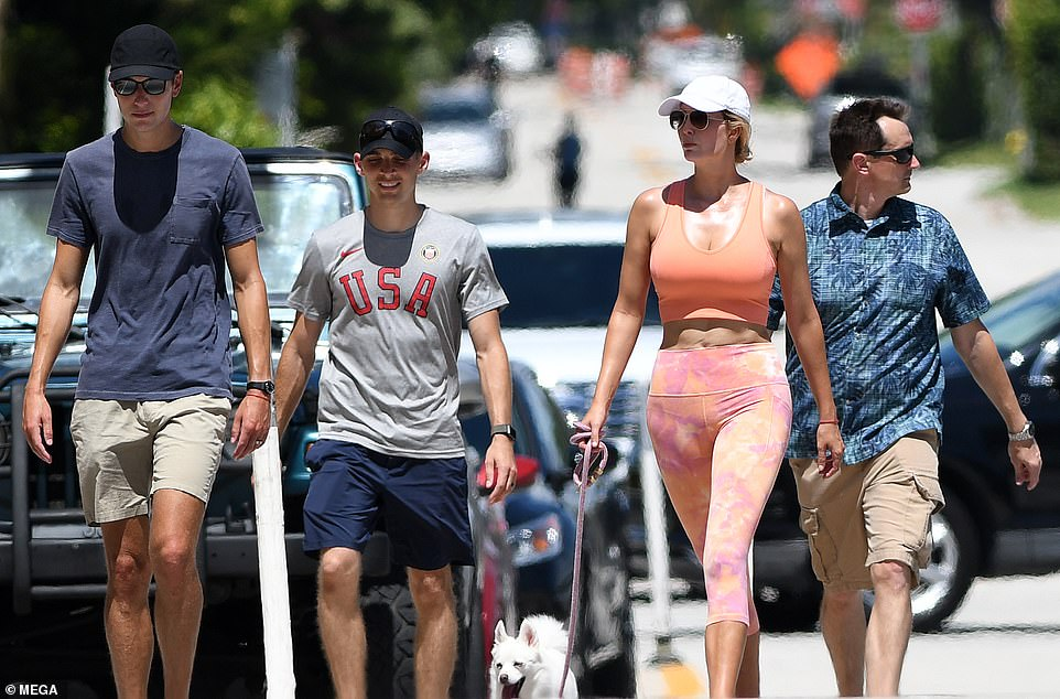 On the move: The former senior White House advisers are known to lead very active lifestyles and they have certainly put their security detail through their paces since arriving in Miami, going for regular runs and walks together