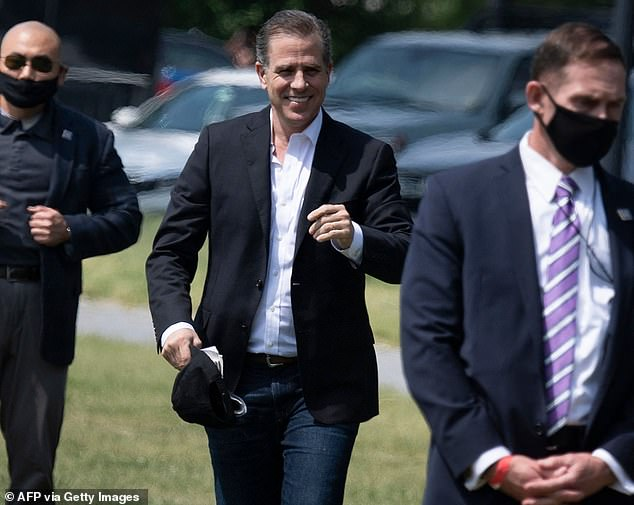Hunter Biden, pictured in May, faced questions over his appointment to the board of a Ukrainian energy firm, despite having no experience in the field