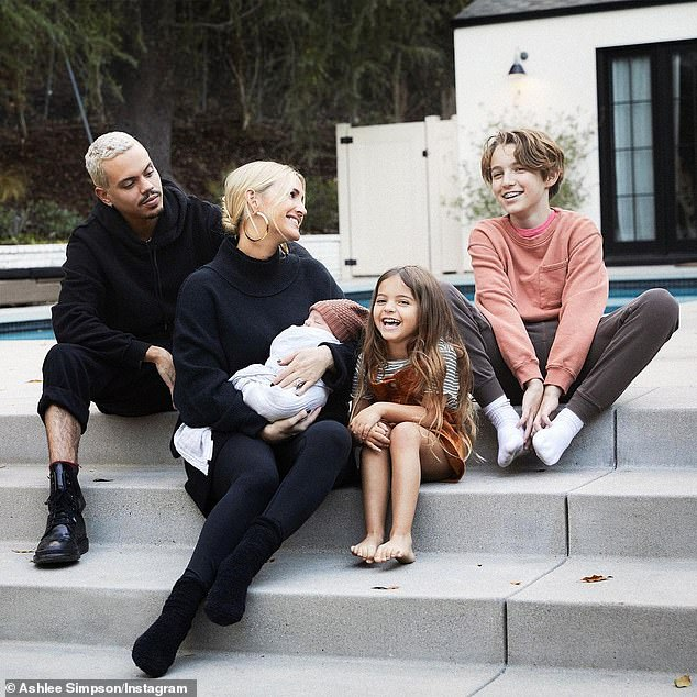 Family forever: Ashley welcomed Ziggy into the world six months ago with her husband of seven-years, Evan Ross