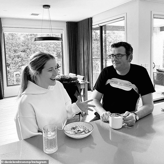 Dan Andrews (pictured with daughter Grace, 18) in April as he recovers from a serious back injury