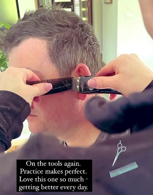 He was pictured on his wife's Instagram Story on Saturday evening receiving a DIY lockdown haircut - but it didn't show his face