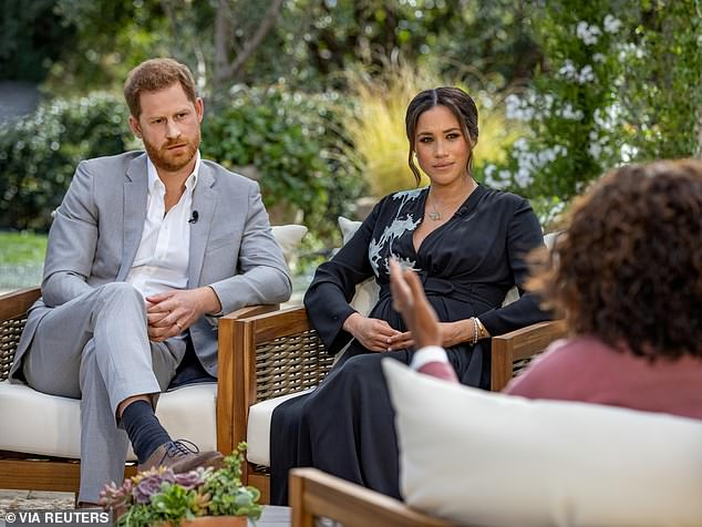 Praise: Indeed, in the Sussex's recent interview with Oprah Winfrey, Harry spoke of his respect for his grandmother, while Meghan said: 'The Queen... has always been wonderful to me'