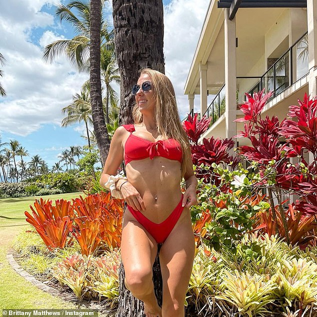Rock solid: The former soccer player and fitness trainer shared two similar photos while on holiday with Mahomes in Maui, Hawaii last week