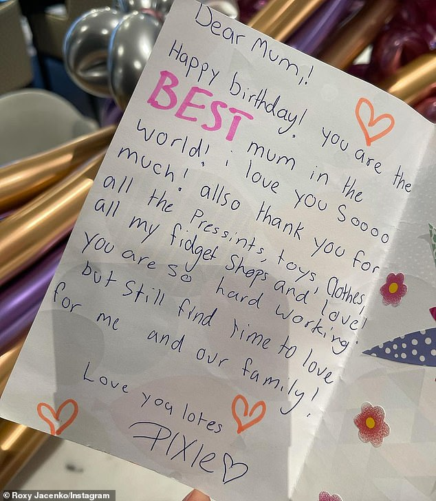 'Dear mum! Happy Birthday! You are the BEST mum in the world!'The celebrity publicist shared a photo of the card to Instagram, where she has 263,000 followers