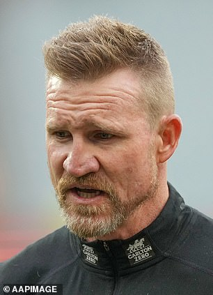Before: Collingwood coach Nathan Buckley, 48, had prominent forehead wrinkles at the MCG on May 29